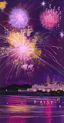Fireworks Painting - Fireworks In Malta by Angss McBride