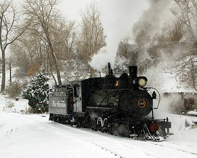 Train In The Winter Photograph - First Morning Run by Ken Smith