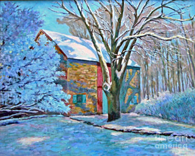 Snowscape Painting - First Snow by Maggie Leiby