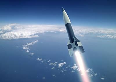 V2 Rocket Photograph - First V-2 Rocket Launch, Artwork by Detlev Van Ravenswaay