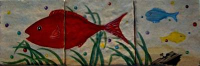 Fish In A Sea Of Colored Bubbles Print by Sandra Maddox