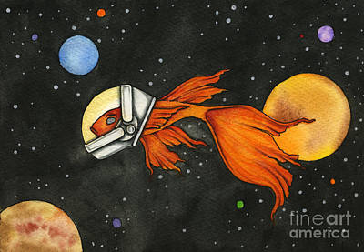 Fish In Space Print by Nora Blansett