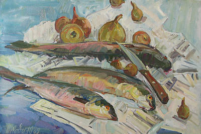 Still Life With Fish Painting - Fish Soup by Juliya Zhukova