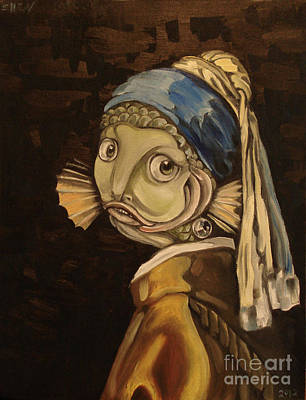 Parody Painting - Fish With The Pearl Earring by Ellen Marcus