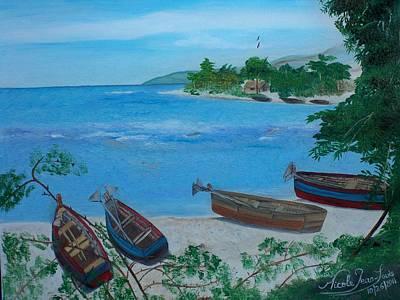 Jacmel Painting - Fishermen Boats By The Sea by Nicole Jean-Louis