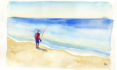 Horizon Painting - Fishing Alone by Catherine Twomey