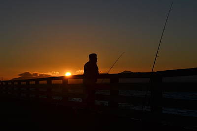 Fishing And Sunset  Print by Saifon Anaya