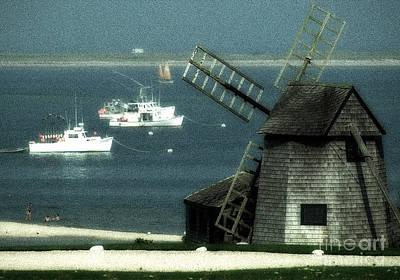 Fishing Boats And Windmill In Chatham On Cape Cod Massachusetts Print by Matt Suess