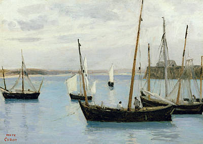 Fishing Boats Print by Jean Baptiste Camille Corot