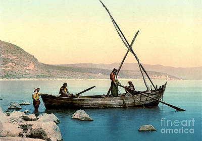 Fishing Lake Tiberias 1895 Print by Padre Art
