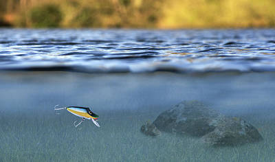 Bass Fishing Photograph - Fishing Lure In Use by Meirion Matthias
