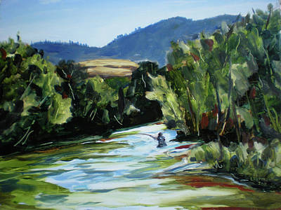 Fishing On The Boise Print by Les Herman