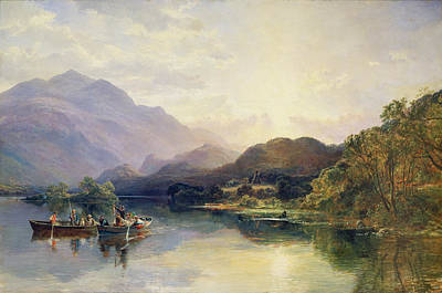 Fishing Party At Loch Achray With A View Of Ben Venue Beyond Print by Samuel Bough