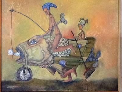 Fishing Smiles Print by Carlos Rodriguez Yorde