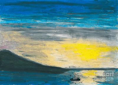 Fishing The Bay Print by R Kyllo