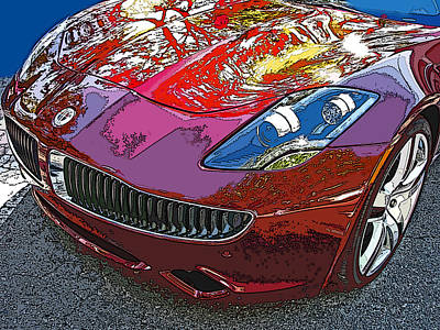 Fisker Karma Hybrid Electric Car Print by Samuel Sheats