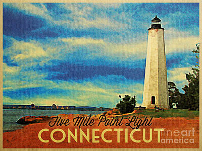 Lighthouse Digital Art - Five Mile Point Lighthouse Connecticut by Flo Karp