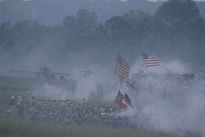 Historical Reenactments Photograph - Flags, Soldiers, And Gun Smoke by Kenneth Garrett