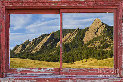 Picture Window Frame Photos Art Photograph - Flatirons Boulder Colorado Red Barn Picture Window Frame Photos  by James BO  Insogna