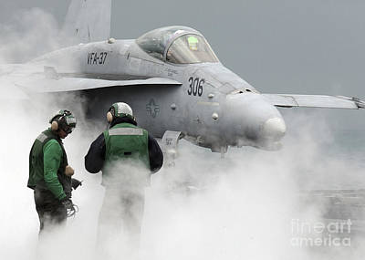 Flight Deck Personnel Are Surrounded Print by Stocktrek Images