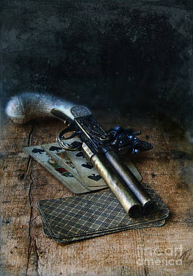 Self Shot Photograph - Flint Lock Pistol And Playing Cards by Jill Battaglia