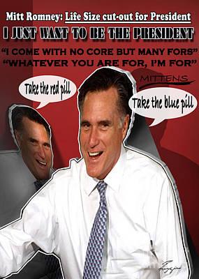 Mitt Romney Mixed Media - Flip-flop-cut It Out by Reggie Duffie