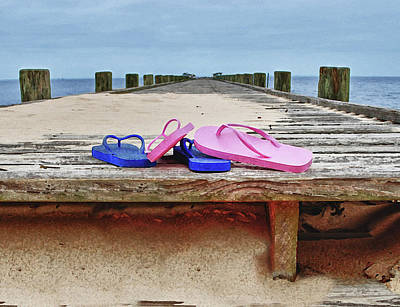 Flip Flops On The Dock Print by Michael Thomas