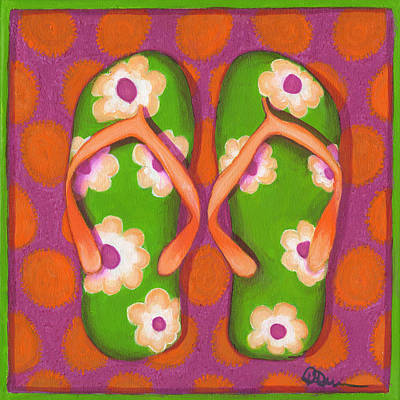 Fushia Painting - Flip Flops1 by Debbie Brown