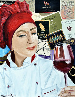 Glass Of Wine Mixed Media - Flo Enjoys A Glass Of Wine by Michael Lee