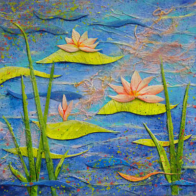 Decoupage Painting - Floating Lilies by Carla Parris