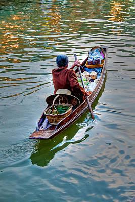 Oars Digital Art - Floating Market by Adrian Evans