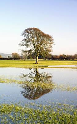 Flooding Photograph - Flooded Farmland Fields by Duncan Shaw