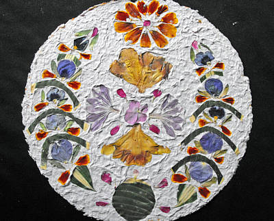 Floral Collage On Handmade Paper No. 2031 Print by Mircea Veleanu