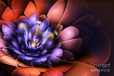 Mysterious Digital Art - Floral Flame by John Edwards