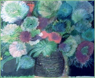 Floral With Blues Print by Anne-Elizabeth Whiteway