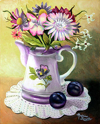 Plumb Painting - Floral With Plumbs by Madeline  Lovallo