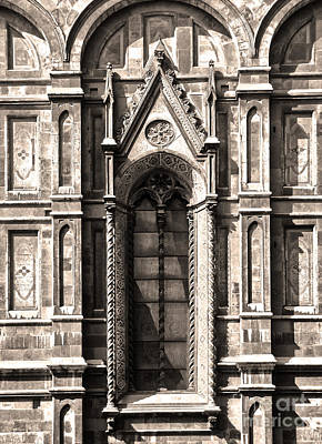 Florence Italy - Duomo Stained Glass - 02 - Sepia Print by Gregory Dyer