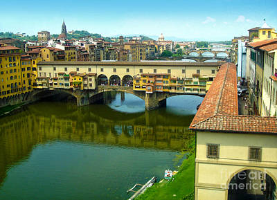Florence Italy - Ponte Vecchio From The Uffizzi Print by Gregory Dyer