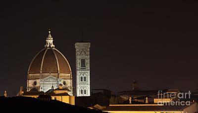 Florence Skyline At Night Print by Chris Hill