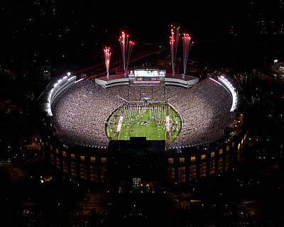 Florida State Photograph - Florida State Fireworks Over Doak Campbell Stadium Aerial View by Replay Photos