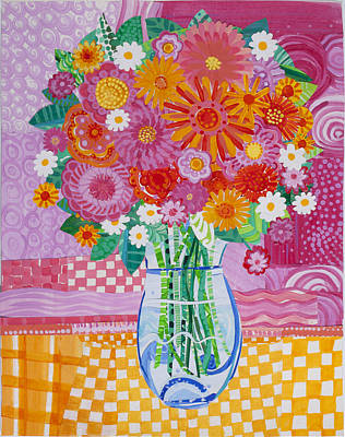 Mums Painting - Flower Collage by Barbara Esposito