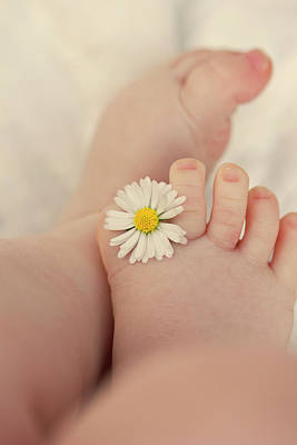 Human Limb Photograph - Flower In Baby Toes. by Augenwerke-Fotografie / Nadine Grimm