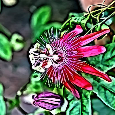 Flower Painting 0001 Print by Metro DC Photography