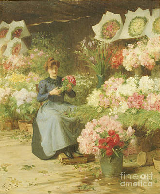 Flower Seller In Front Of The Madeleine Church Print by Victor Gabriel Gilbert