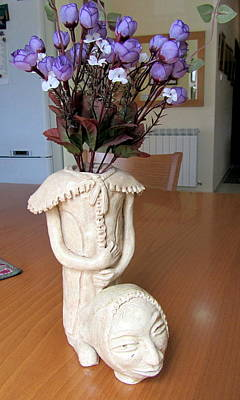 Flowers In My Head  Ceramic Vase Sculpture Of A Lady With A Removable Head Shoulder Pads Hands Face Print by Rachel Hershkovitz
