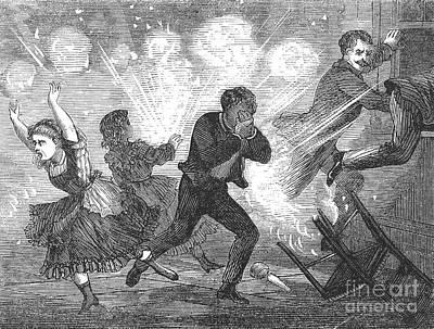 Fluid Lamp Explosion, 1868 Print by Granger