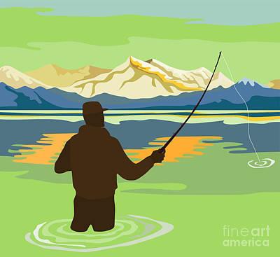 Fly Fisherman Rod And Reel Retro Print by Aloysius Patrimonio