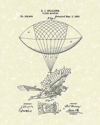 Balloon Drawing - Flying Machine Spalding 1889 Patent Art by Prior Art Design