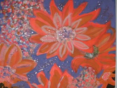 Flying Orange Flowers On Blue Print by Anne-Elizabeth Whiteway