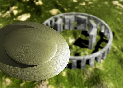 Megalith Photograph - Flying Saucer Over Stonehenge, Artwork by Victor Habbick Visions